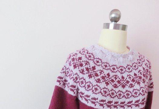 вязание спицами, пуловер, схема, жаккардовая кокетка, схема, лопапейса, для женщин