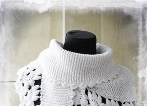 вязание спицами, бактус-шарф, белый, женский, схема, ажурная кайма, описание,
