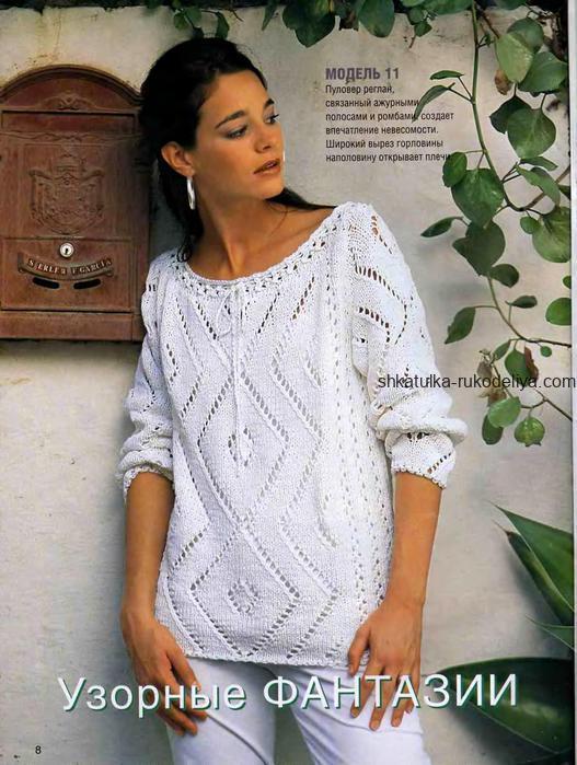 вязание спицами, пуловер, схема, описание, ажурные ромбы, для женщин, белый