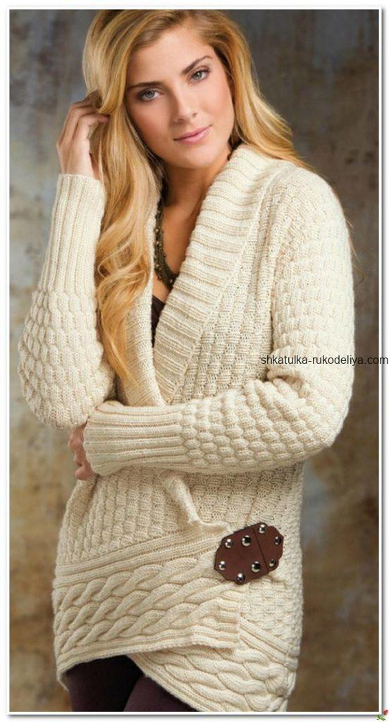 вязание спицами, жакет, элегантный, белый, схема, для женщин, длинный