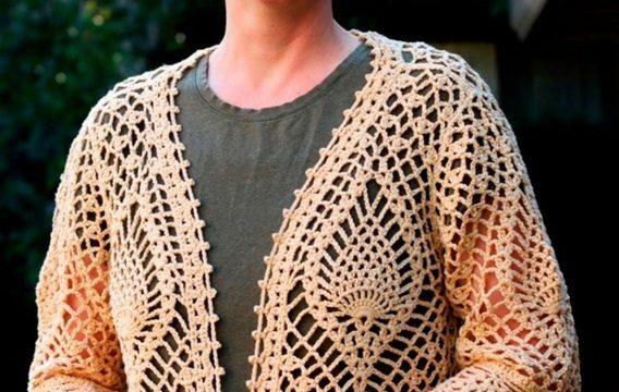 вязание крючком, кардиган, схема, узор ананас, закруглые полочки, для женщин, летний