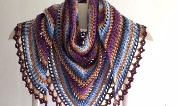 вязание крючком, шаль, схема, для стильных дам, для женщин, треугольная