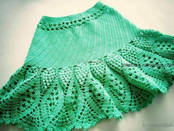 вязание крючком, юбка, короткая, для девочки, на основе салфетки, схема, летняя