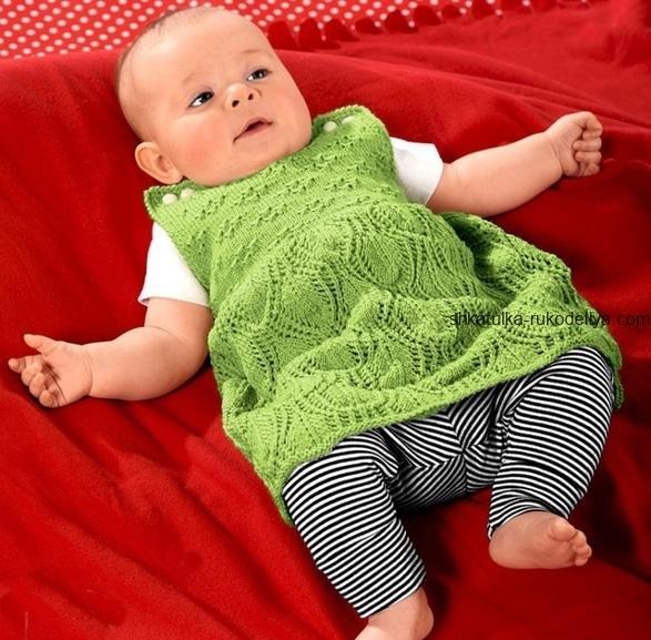 вязание спицами, детское, платье, с застежками на плечах, для маленьких, схема