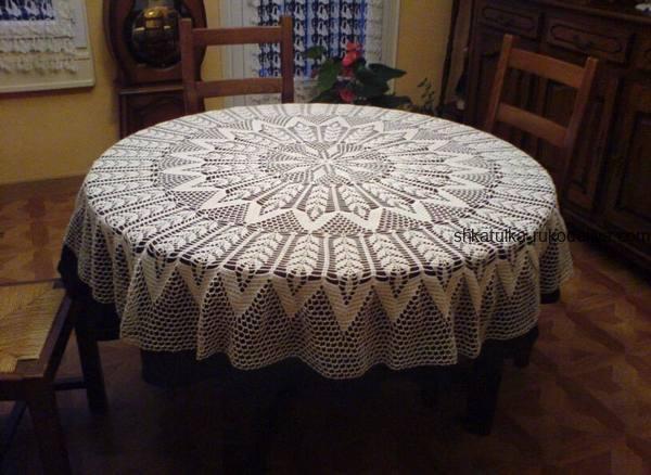скатерть крючком на круглый стол схемы большая скатерть на круглый