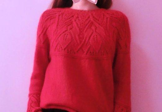 вязание спицами, пуловер, круглая кокетка, весенний, схема, расклешенный рукав, женский