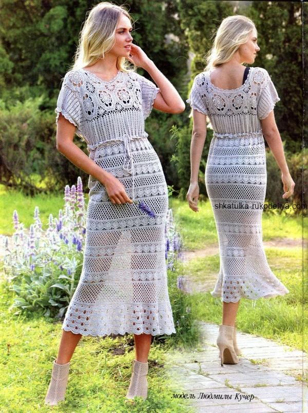 вязание крючком, платье, длинное, восьмигранный мотив, схема, летнее,описание