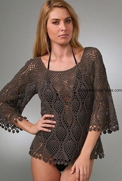 вязание крючком, блуза, схема, широкий рукав, схема, ажурная, для женщин