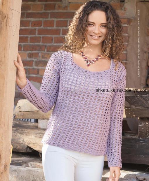 вязание крючком, пуловер, схема, описание, натуральная шерсть, кашемир, для женщин