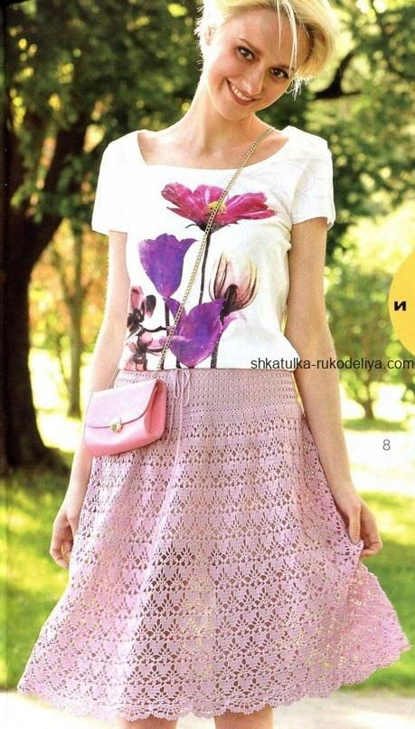 вязание крючком, юбка, короткая, женская, из хлопка, схема, пильная роза, описание, летняя