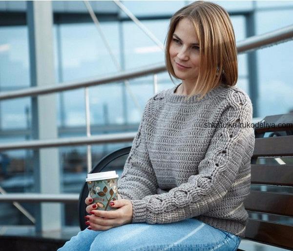 вязание крючком, пуловер, схема, описание, длинные рукава, узор цепочки, для женщин