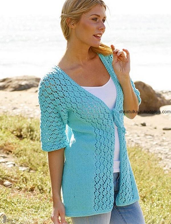 вязание спицами, жакет, схема, ажурная отделка, летний, короткий рукав, женский, бирюзовый