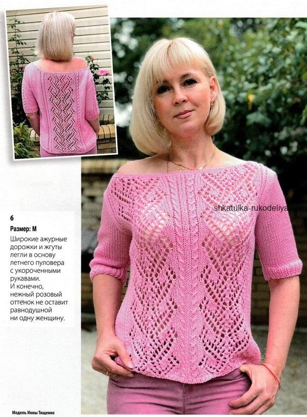 вязание спицами, крючком, пуловер, схема, описание, розовый, ажурные дорожки, укороченный рукав