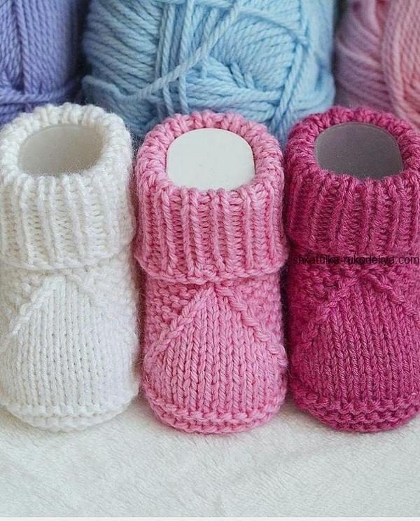 вязание спицами, пинетки, детские, описание, для новорожденных, простые, теплые