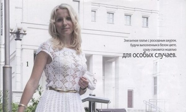 вязание крючком, платье, схема, описание, элегантное, нарядное, белое, ажурный узор, для женщин