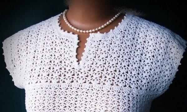 вязание крючком, кофточка, белая, приталенный силуэт, летняя, красивый узор, женская, схемы