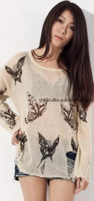 вязание спицами, пуловер, схема, с узором бабочки, необычный, свободный, для женщин