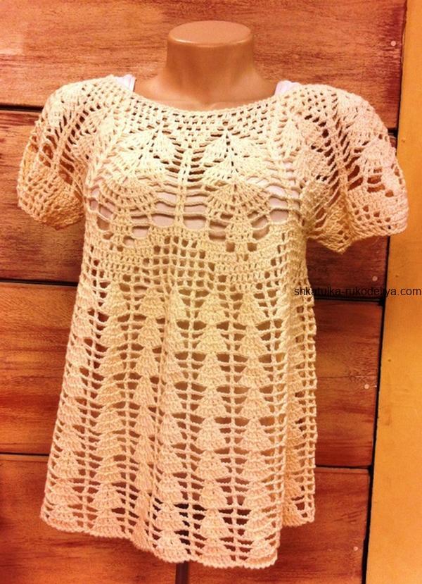 вязание крючком, блуза, схема, для женщин, красивая кокетка, летняя, короткий рукав