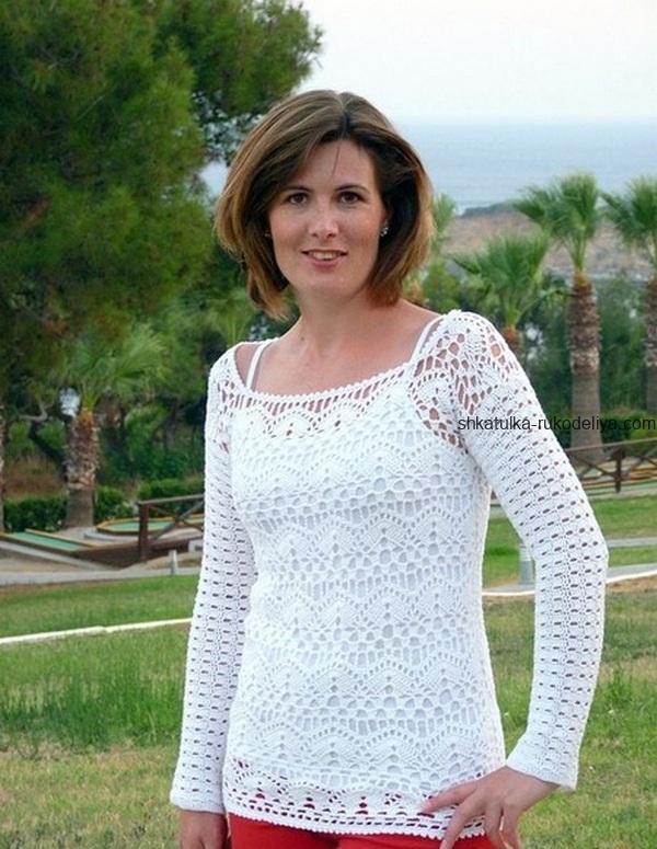 вязание крючком, пуловер, схема, описание, белый, летний, кружевной узор, свободного покроя, женский