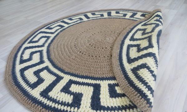 вязание крючком, коврик, мастер класс, для дома, греческий орнамент, круглый
