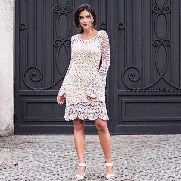 вязание крючком, платье, летнее, длинный рукав, схема, мотивы, для женщин, белое