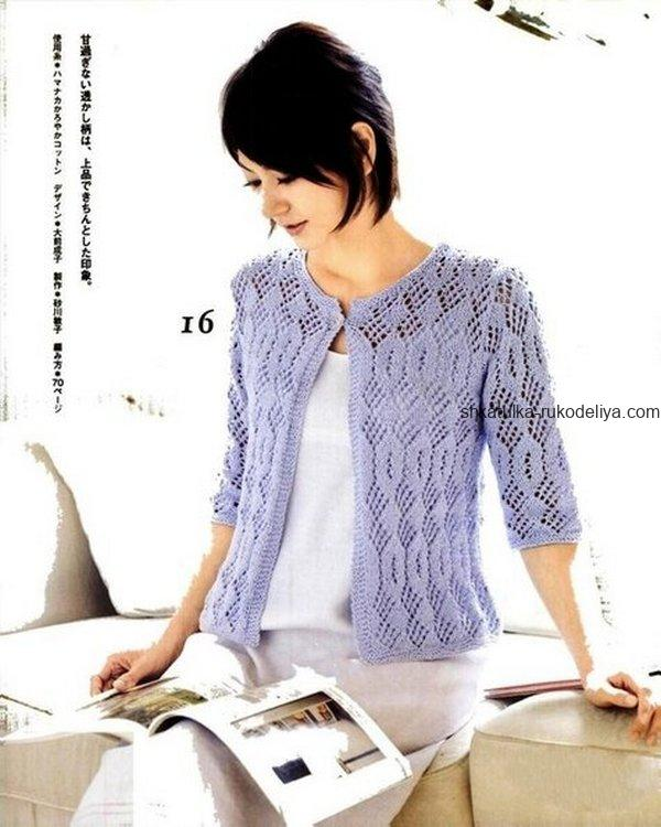 вязание спицами, жакет, схема, летний, короткий рукав, женский