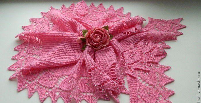 вязание спицами, шарф, схема, описание, для женщин, розовый, бусинки, кайма сердечка