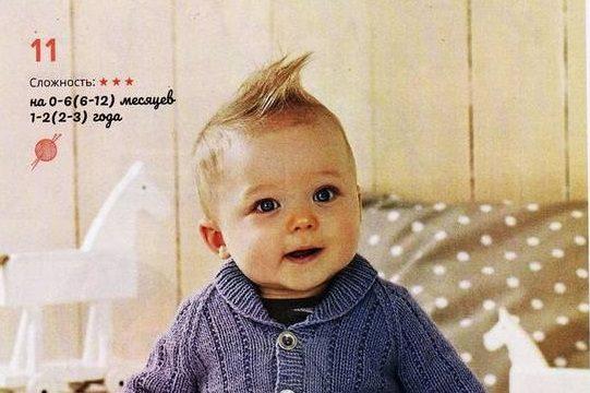 вязание спицами, жакет, детский, описание,синий, с пуговицами