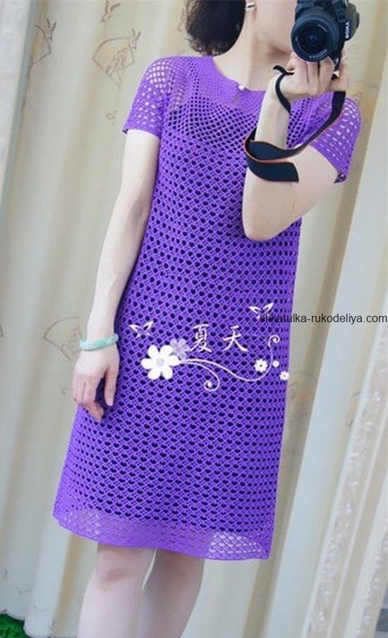 вязание крючком, платье, женское, летнее, схема, простой узор