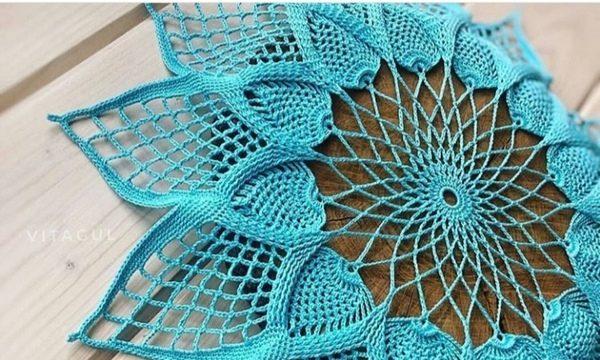 вязание крючком, салфетка, обьемная, для дома, украшение, схема, красивая