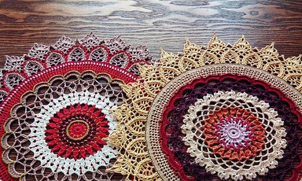 вязание крючком, салфетка, круглая, разноцветная, схема, для дома, ажурная, красивая
