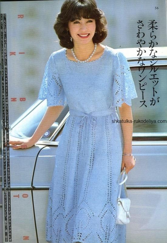 вязание спицами, платье, летнее, ажурный узор, схема, для женщин, голубое