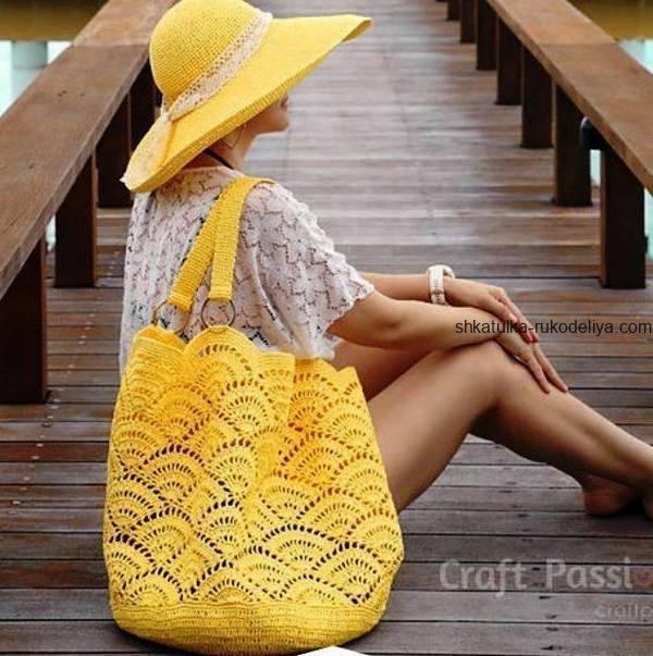 вязание крючком, сумочка, схема, для пляжа, желтая, летняя, женская, узор ракушка