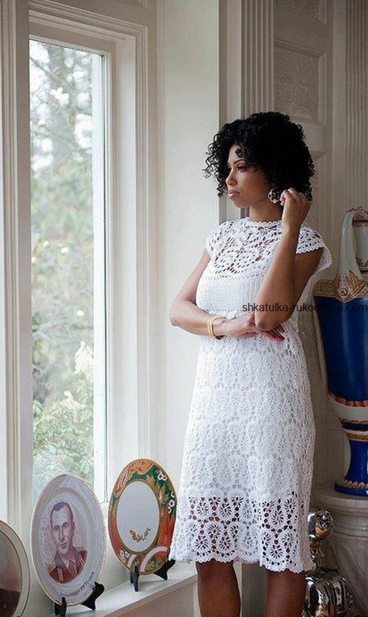 вязание крючком, платье, схема, лето, брюггское кружево, белое, кружевное