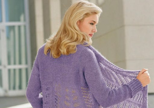 вязание спицами, шаль-жакет, поперечное вязание, схема, описание, для женщин