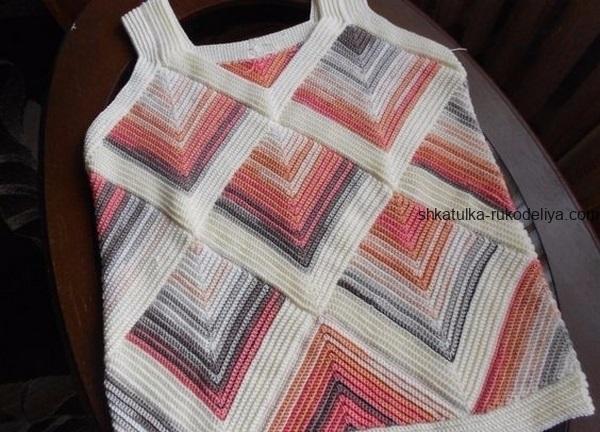 вязание спицами, топ, дизайнера Sisko Sapakimi, описание, для женщин, меланжевая пряжа, летний