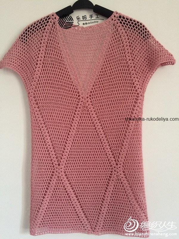 вязание крючком, туника, стильная, узор ромб, простой узор, схема, лето, для женщин