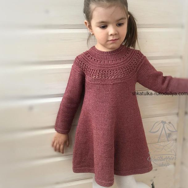 вязание спицами, платье, для девочки, красивая кокетка, описание, теплое