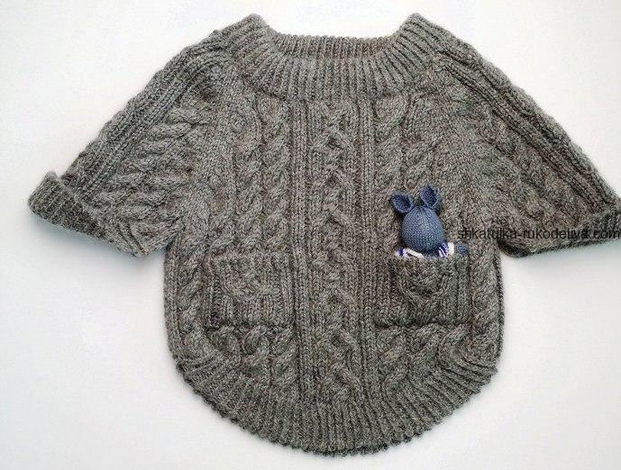 вязание спицами, пончо, схема, теплое, для девочки, узор коса, серое,