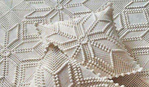 вязание крючком, наволочка, для дома, мотивы, декоративная, схема, узор шишечки