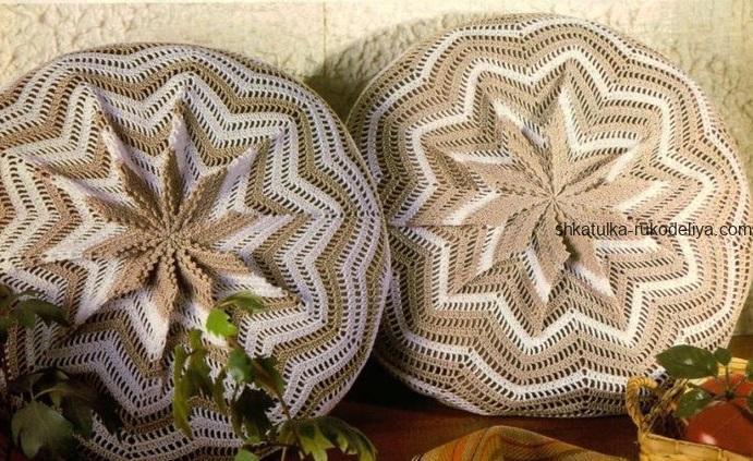 вязание крючком, подушка, круглая, декоративная, для дома, узор зигзаг, схема