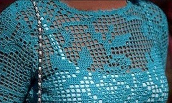 вязание крючком, топ, схема, для женщин, филейная техника, узор розы, для лета, бирюзовая