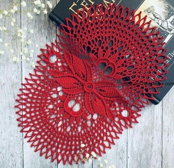 вязание крючком, салфетка, схема, для дома, овальная, рельефная, красная