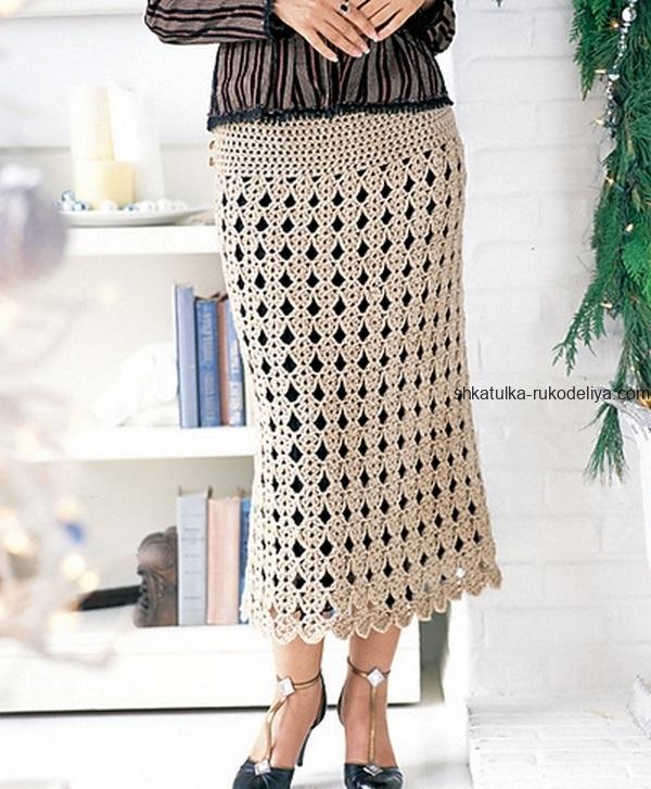 вязание крючком, юбка, длинная, женская, длинная, схема, летняя, красивый узор