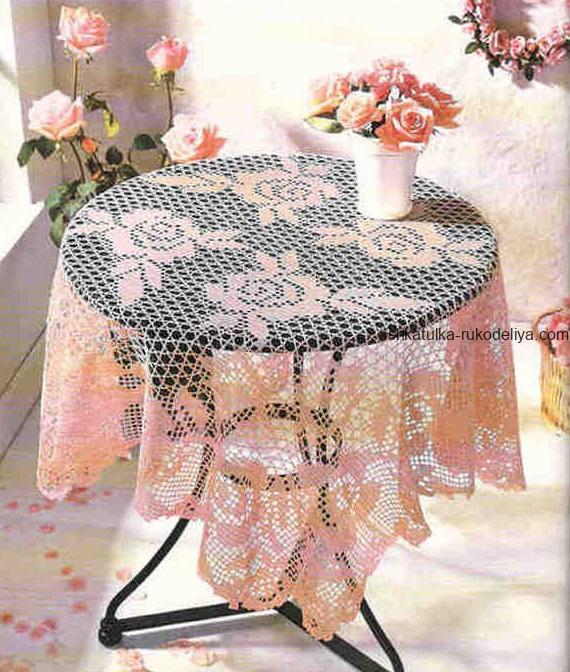 вязание крючком, скатерть, схема, для дома, квадратная, филейная техника, с розами, розовая