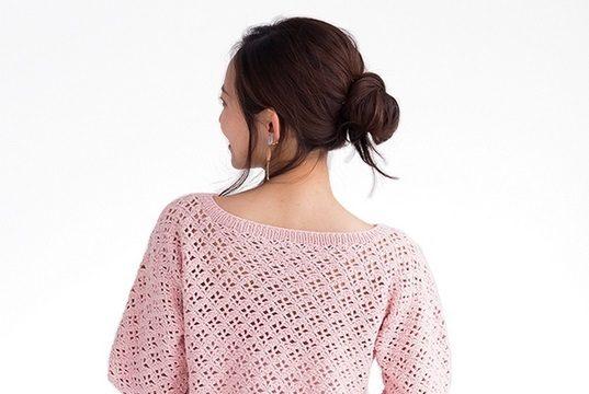 вязание крючком, джемпер, схема, для женщин, японская модель, розовый, кокетка лодочка