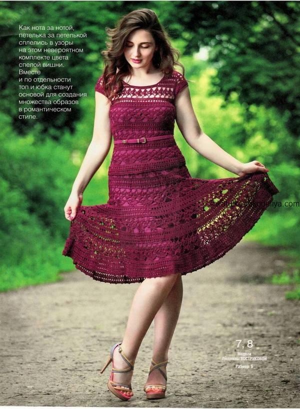 вязание крючком, костюм, юбка, топ, цвет вишни, романтический, схема, описание, для женщин