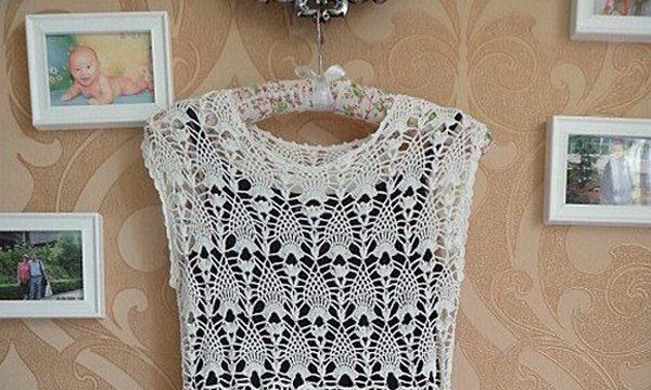 вязание крючком, платье, схема, для женщин, узор ананас, летнее, белое, японская модель