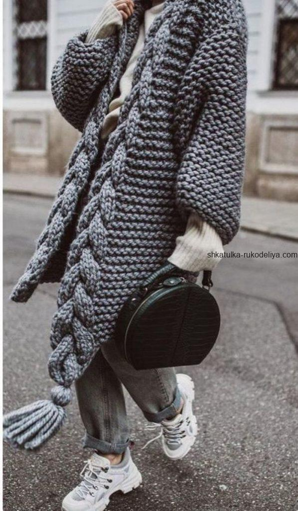 вязание спицами, кардиган, схема, модный стильный, подборка схем, для женщин, узор коса