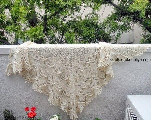 вязание спицами, шаль каллиста, треугольная, схема, описание, для женщин, красивый узор